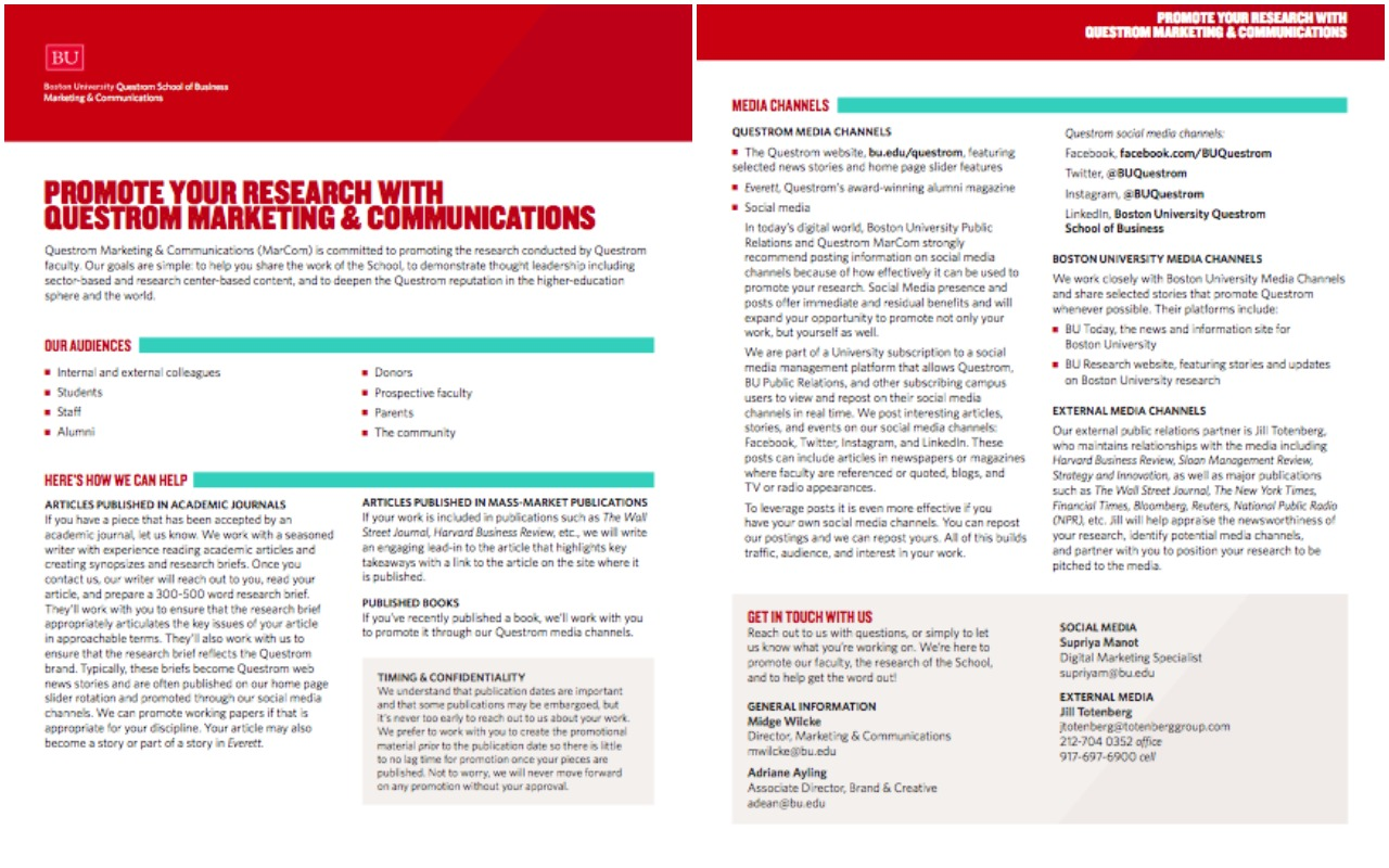 one page handout for faculty meetings